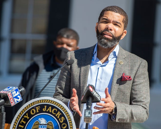 Jackson Mayor Chokwe Antar Lumumba briefs on the city's water situation during the weekly press conference at Jackson Town Hall, Miss., Monday, February 22, 2021.